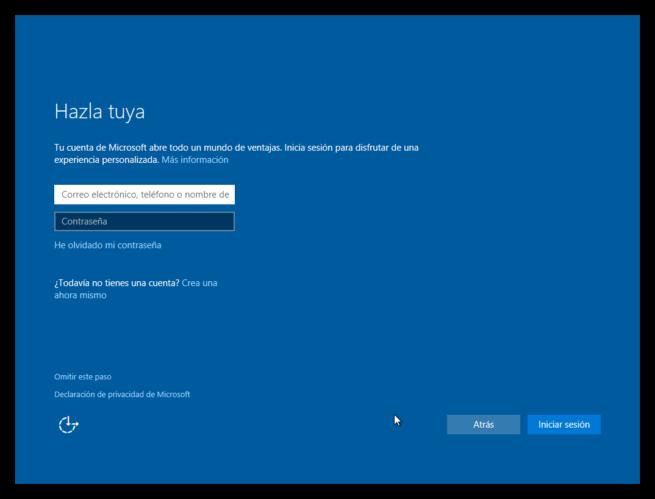 primer inicio de windows 10 - cuenta local - cuenta microsoft