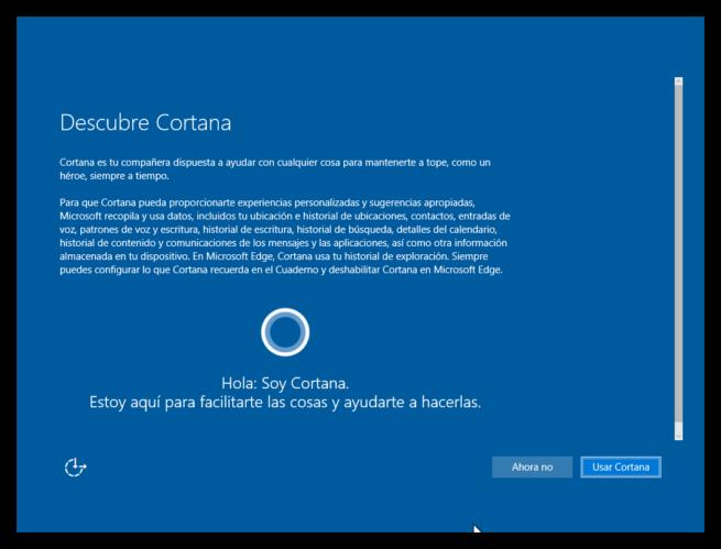primer inicio de windows 10 - cortana