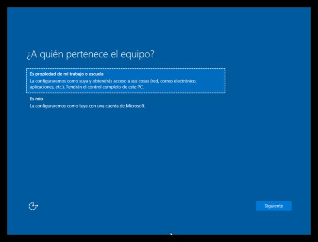 primer inicio de windows 10