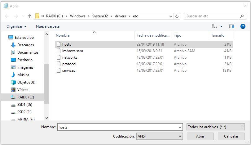 archivo hosts windows