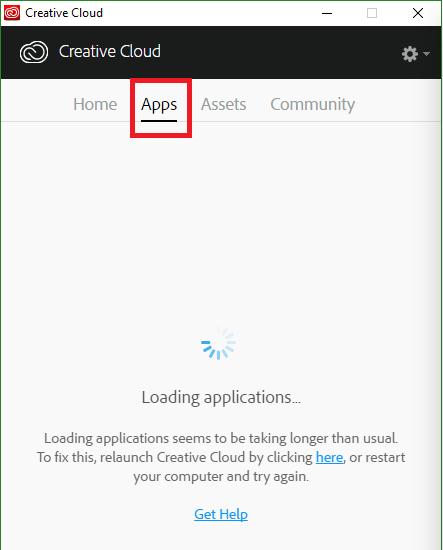 pestaña de apps no aparece en creative cloud
