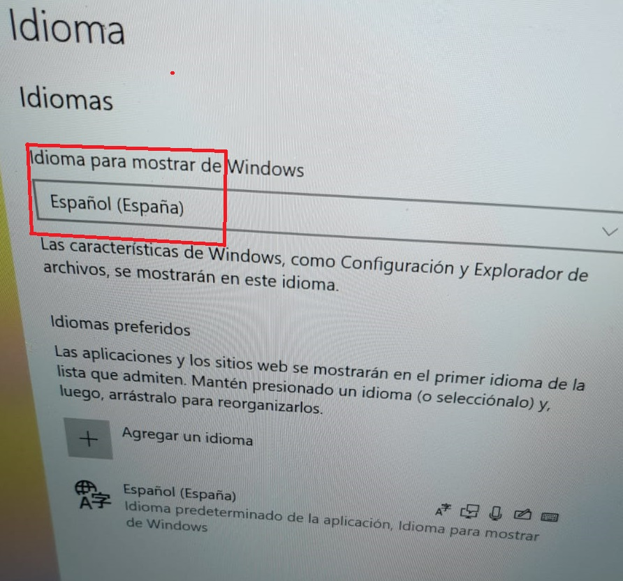 idioma español en windows 10