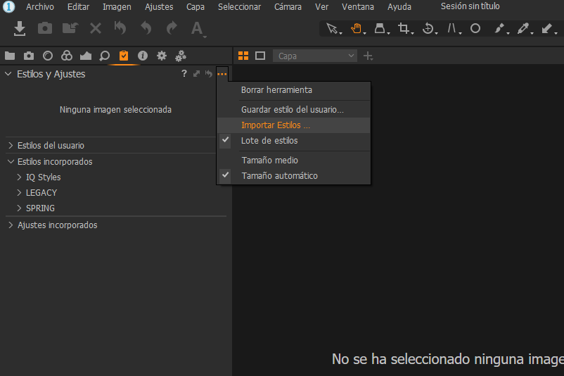 instalar estilos en capture one