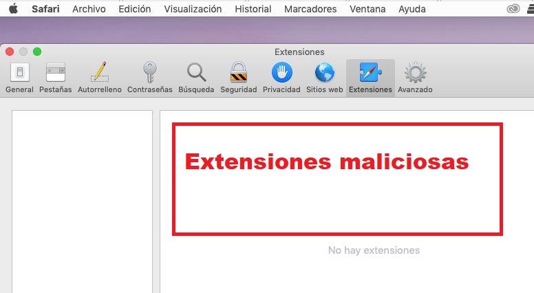 eliminar extensiones maliciosas en mac