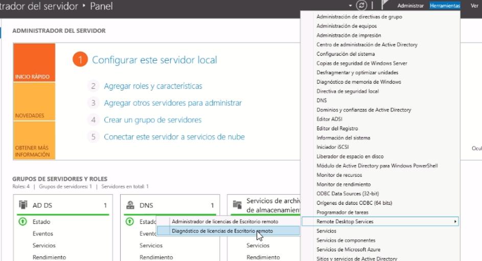 instalar licencias rds terminal server
