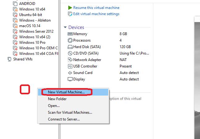 configurar mac vmware